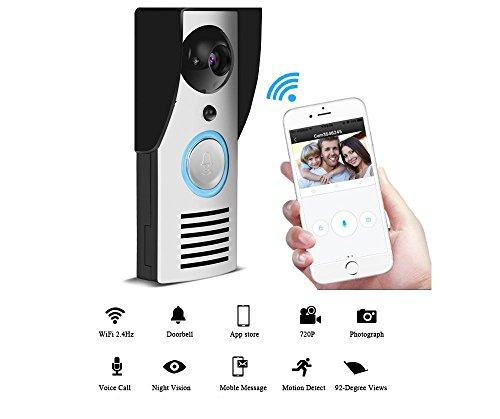 Video Gegensprechanlage WI-FI Video Türsprechanlage Ring Türklingel IR Nachtsicht Alarm Wireless Überwachungskamera Fernbedienung entsperren Multi-Gerät Login App-Steuerung für IOS und Android (Mobile Entsperrt Handys)