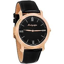Montegrappa NEROUNO Slim Swiss Made Men 's Rose Gold Watch idnmwarc