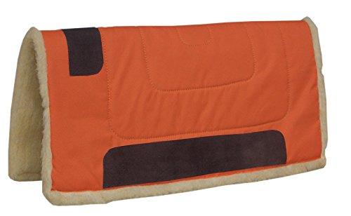 Amesbichler Westernpad ORANGE | Western Pad Inka mit Teddy Fleece Unterseite aus 100{fe729a6d0392b8ad8dc606109b4b6ed36469d95bfbf3af11b9c9964a4732fccd} Polyester, 75 cm lang x 80 cm breit, Lederverstärkt