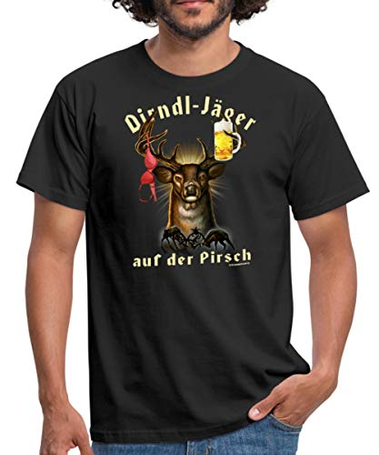 Spreadshirt JD Jäger Designs Dirndl Jäger Auf Der Pirsch Hirsch Mit Bier Und BH Rahmenlos Geburtstag G Männer T-Shirt, 4XL, Schwarz