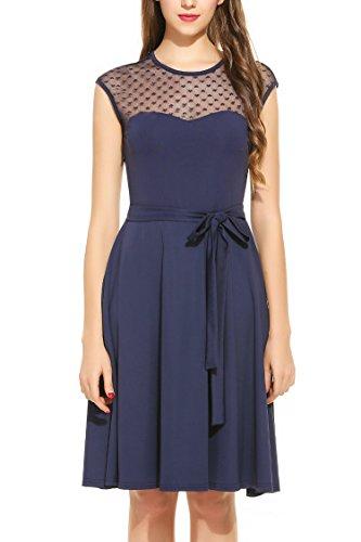 begorey Damen Cocktailkleider sommerkleider knielang Abendkleider elegant Partykleid mit O-Ausschnitt ärmellose festlich Hochzeit Marineblau