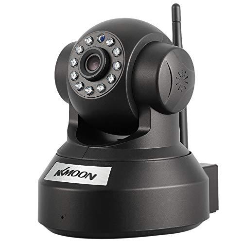 KKmoon 720P HD Cámara IP de Vigilancia WiFi (H.264, 1MP, 1/4' CMOS, PnP P2P Ap, 2 Vías de Audio, ONVIF 2.0, IR-Cut,Control Remoto Pan/Tilt, Visión Nocturna, Detección de Movimiento)