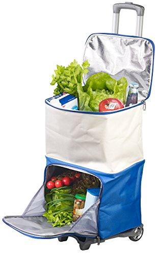 Xcase Einkaufswagen: 2in1-Einkaufs-Tasche mit abnehmbarem Trolley und Kühltasche, 45 Liter (Kühltasche XXL)