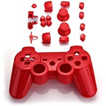 SODIAL(R) Funda Carcasa Reemplazo para Mando Inalambrico PS3 Color Rojo