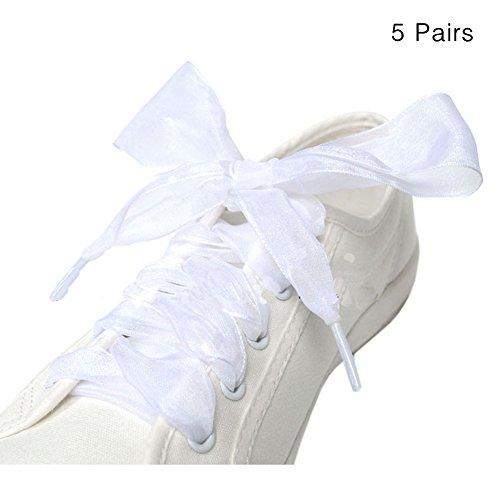 GZHOUSE 5 Paare erweitert 4 cm Flat 110 cm Länge Schuh LACES Band Schnürsenkel Krawatten für Trainer Sneakers Stiefel 13 Farben (Fancy Für Dress Paare Ideen)