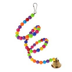 CADANIA Parrot Toys Spiral Swing Stand Holder Uccelli Creative Bell Colorful Beads Ladder