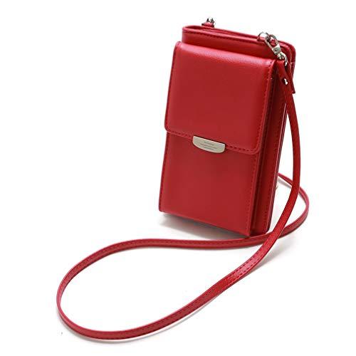 Kleine Snap Wallet (LIXIAQ1 Rechteck Umhängetasche Wallet Snap Zipper Design Handytasche Eleganter Kartenhalter Umhängetasche Handtaschenpakete, Rot)