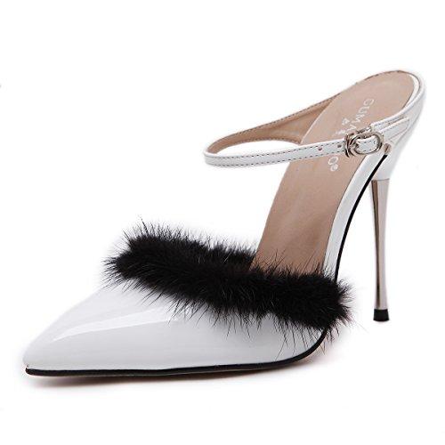 ZYUSHIZ Die Rechtschreibprüfung Farbe high-heel Tipp hinten Eisen mit Klicken Sie auf Schuhe Frau Sandalen Hausschuhe 35EU