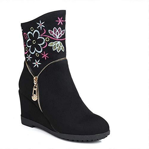 ZHRUI Damen Stiefel - Herbst und Winter Tuch Stiefel/Wildlederstiefel/Retro Ethnic Style/Stickerei Stiefel 34-40 (Farbe : Schwarz, Größe : 37)