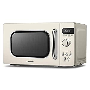 COMFEE' Retro Style 800 w 20 L Microwave Oven with 8 Auto Menus, 5 Cooking Power Levels, and Express Cook Button - Apricot Cream - CM-M202RAF(CM)