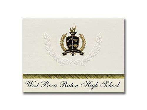 Signature Announcements West Boca Raton High School (Boca Raton, FL) Abschlussankündigungen, Präsidential-Stil, Grundpaket mit 25 goldfarbenen und schwarzen metallischen Folienversiegelungen