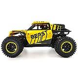 YxFlower 1:14 2WD RC Voiture Mini Buggy Radiocommande Tout Terrain, 2.4G Simulation Véhicule Modèle Télécommande Électrique Climbing Car - Jaune