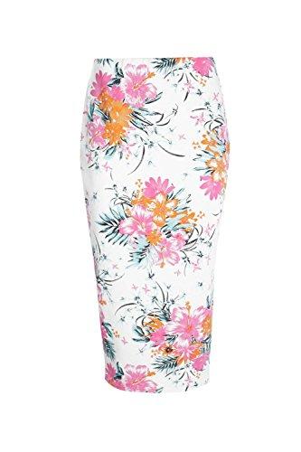Damen Elfenbein Azia Midirock Mit Tropischem Blumen-print Elfenbein