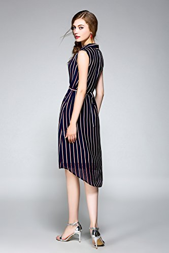 Fashion Damen Lässige Business Stripe Kleid Schwarz