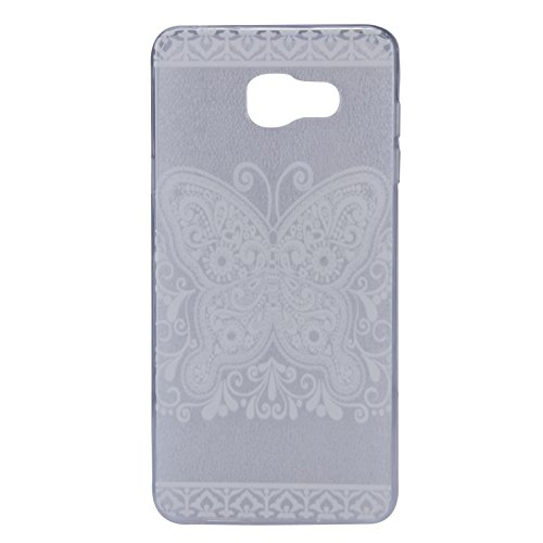 Galaxy A7 (2016) Hülle, SainCat Silikon Hülle Tasche Handyhülle [Kratzfeste, Scratch-Resistant] TPU Gel Bumper Case Weiches Transparentes Silikon Schutzhülle Crystal Kirstall Clear Case Durchsichtig M White Butterfly#