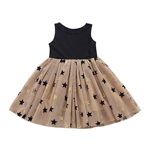 Alwayswin Kleinkind Baby Mädchen Prinzessin Kleid Kleidung Ärmelloses Sterne Tüll Party Kleid Nahtendes Sternenkleid Nahtendes Sternenkleid Niedliches Lässiges Tutu Tägliches Kleid - Glamour Satin Brautkleid