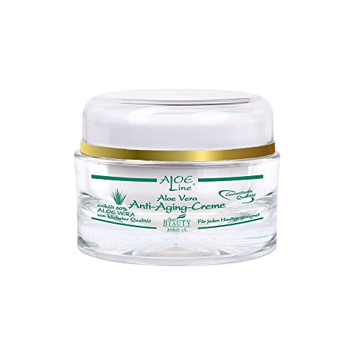 Aloe Vera Anti Aging Gesichtscreme 24h (50ml) mit 60% Aloe Vera aus kontrolliert biologischem Anbau, Q10, Avocadoöl, Sheabutter,...
