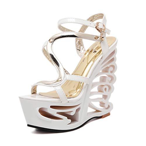 Mzq-yq Womens Ladies High Heel Strappy Wedges Peep Toe Sandals Leder Buckle Wristband Metal Decorative Shoes,White,40 - Womens Strappy Wedge Sandal