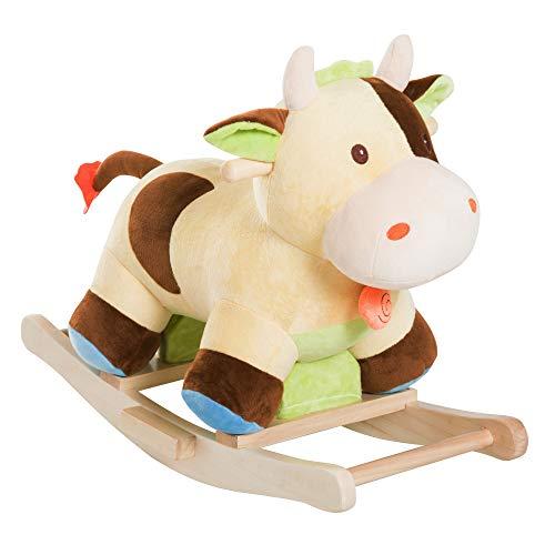 Homcom Cheval à Bascule Vache à Bascule Rembourrage Coton Grand Confort Peluche...