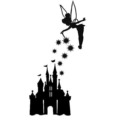 Adesivo per auto, finestrini, motivo: castello Disney e Campanellino