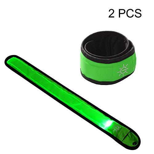 TECHION 2Pack LED Slap Armband/LED zum Aufstecken Armband mit hoher Sichtbarkeit für Radfahren//Walking/Joggen/Laufen Gear, Green Pack -