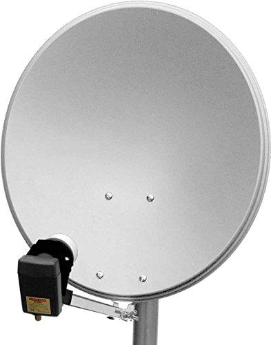 Goobay Disco Parabolico Satellitare Alluminio per Impianti Singoli/Multiutente, Braccio di Supporto Particolarmente Stabile, 65 cm, Argento