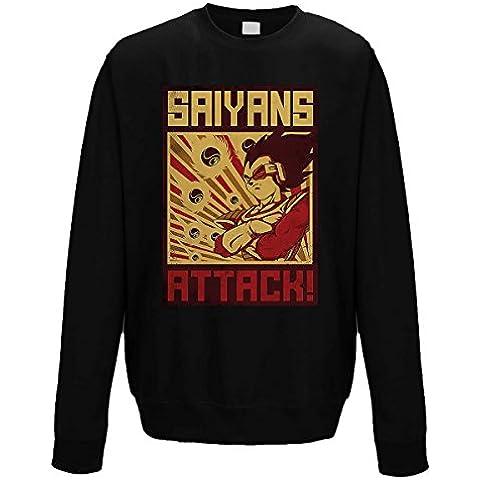 suéter de cuello redondo sudadera hombre Saiyans Attack campaign super poster vintage