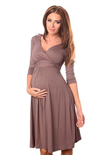 Purpless Maternity Herrlich V-Ausschnitt Kleid Mutterschaft Kleidung Top 4400 Cappuccino