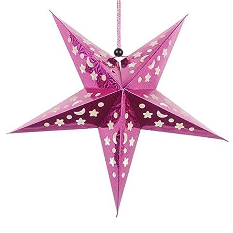 OULII 45cm Papierstern Laterne 3D Pentagram Lampenschirm für Weihnachtsweihnachtsparty Holloween Geburtstags Haus hängende Dekorationen (Laterne Weihnachtsschmuck)