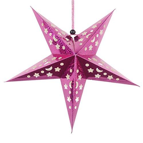 Tinksky 30cm Weihnachtsstern Papier Weihnachtsdeko Sterne 3D Adventsstern DIY Deko Christbaumanhänger für Weihnachtsbaumschmuck Party Hängende Dekorationen (Rose Rot)