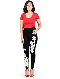 Howdy Black Color Legging With White Flowers