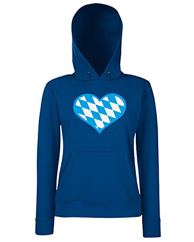 T-Shirtshock - Sweats a capuche Femme BEER0033 bavaria flag heart dark tshirt Bleu Navy