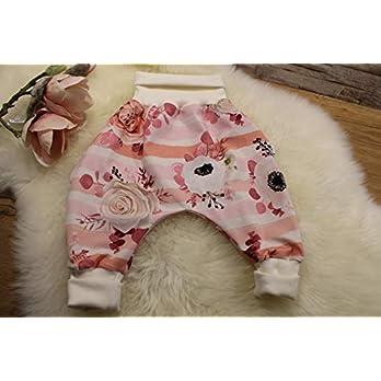 Baby Pumphose Schlupfhose Haremshose Gr.62-74 Rosen rosa