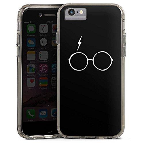Apple iPhone X Bumper Hülle Bumper Case Glitzer Hülle Narbe Brille Blitz Bumper Case transparent grau
