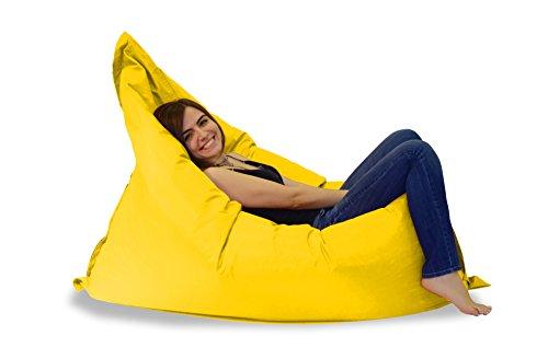 Sitzsack XXL - Riesensitzsack - Sitzsäcke XL Indoor Outdoor 400L 140x180 cm Sessel Kissen Sofa Hocker Sitzkissen Bodenkissen für Kinder und Erwachsene Wasserabweisend mit Styropor Füllung (Gelb)