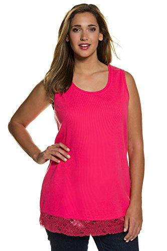 Pink Lace Cami Top (Ulla Popken Damen Große Größen bis 64 | Langes Top | Long Tank-Top mit Spitze | Trrägershirt in Slim Fit | Jersey in Verschiedenen Farben | Hibiskus-Pink 42/44 704840 53-42+)