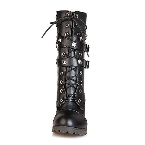 UH Femmes Chaussures avec Boucles avec Rivets et Lacets Bottes à Cuissarde de Fermeture Eclair Talons Moyenne Bloc Confortables avec Fourrure Chaud pour Lhiver Noir