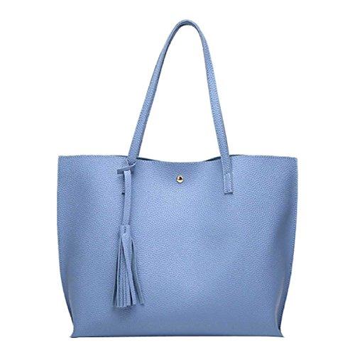 Frauen Quasten Handtaschen Schulterbeutel Kurierbeutel Blue
