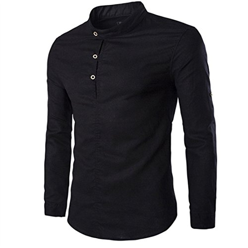 Men's Fashion Solid Color Flax Leisure Turtleneck Collar Casual Shirts Black