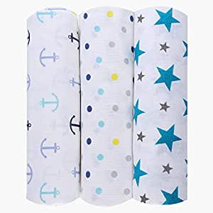 haus & kinder Twinkle Collection Cotton Muslin Swaddle Wrap for New Born Baby (Pack of 3, Anchor + Dots + Turquoise)