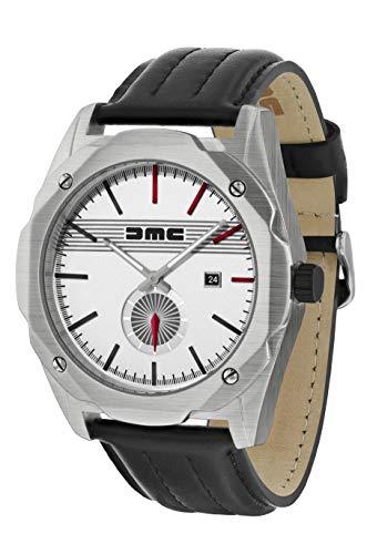 Reloj de pulsera clásico para hombre DMC Live The Dream   DeLorean Motor Company   Caja de acero inoxidable de 49 mm   Resistente al agua y los arañazos de 50 m   Esfera plateada   Correa de cuero gen