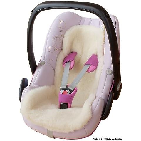 ByBUM - Piel de cordero / de inserción, para el asiento del bebe, universal para el coche, asiento de coche, por ejemplo, Maxi-Cosi, Römer, de cuna, cochecito o la silla de paseo, 100% LANA MERINO