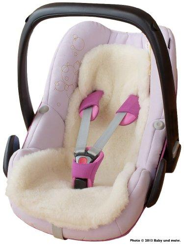 ByBoom - Baby Lammfellauflage, Universal für Babyschale, Autokindersitz, z.B. für Maxi-Cosi, Römer, für Babybett, Kinderwagen o. Buggy; 100% MERINOWOLLE