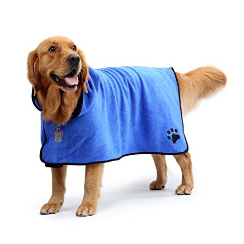 Splink Hunde Bademantel Schnell Trocknend Super saugstarker Microfiber Badetuch (L) - 2