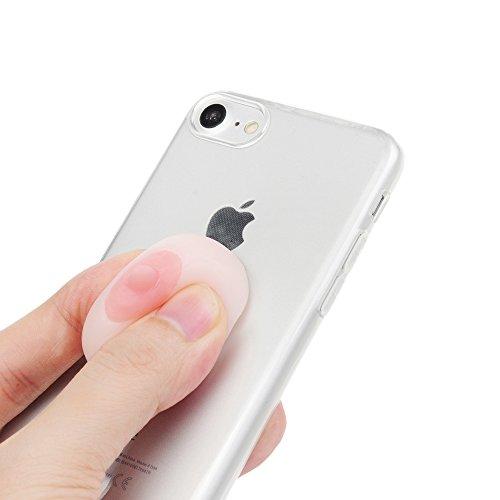 "iPhone 7 Silikon Hülle YOKIRIN Crystal Clear Case Cover für iPhone 7 (4.7"") Silikonhülle 3D Weiche Silikon Cartoon Figer Pinch Dekompressions Spielzeug Case Transparent TPU Silikon Handytasche Handyhü Puderbrot"