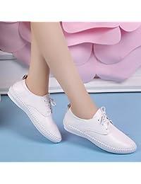KPHY-Los Perezosos Zapatos Blancos Mujer Correa De Cuero Y Pisos De Estudiantes Versátil Casual Zapatos De Mujer...