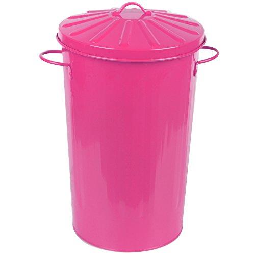 crazygadget Metall 18Liter 18L rund klein Farbe Recycle Mülleimer Papier Abfalleimer mit Deckel rose