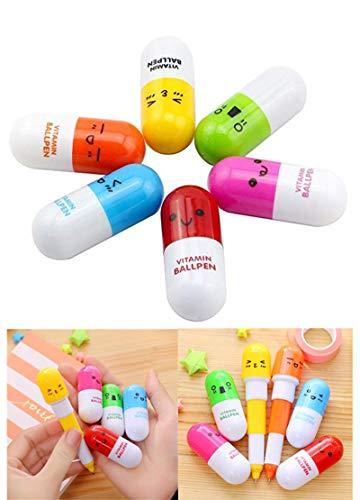 Cupcinu® Niedliche Emotions-Kugelschreiber in Pillenform, einziehbar, Krabbelsackfüller, für Kinder, 6 Stück
