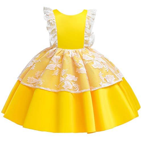 Livoral Kleinkind Kind Mädchen Spitze Prinzessin Halloween Kleid Party Tüll Kleid Cosplay Kostüm(Gelb,6-12 Months)