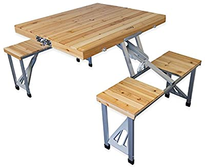 Andes Wooden Folding Portable Camping/Picnic Outdoor Table & Stool Chair Set produced by Andes - quick delivery from UK.